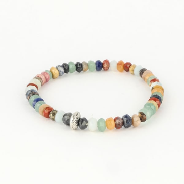 Dell Arte by Jean Claude 8 And 6 Mm  Rare Faceted Rondelle Agate, Aventurine And Jasper Beads Bracelet