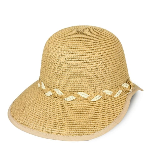 Braided Crown Trim Straw Garden Hat -Toast - Front