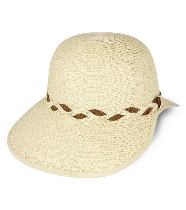 Braided Crown Trim Straw Garden Hat - Natural - Front