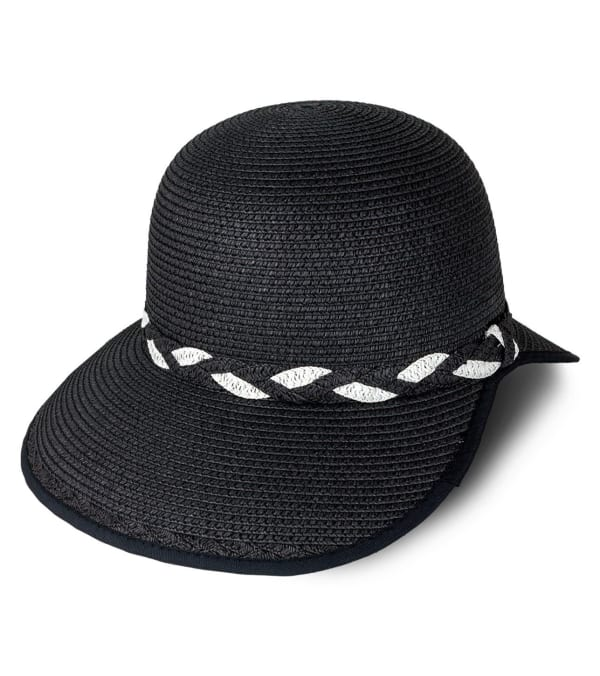 Braided Crown Trim Straw Garden Hat - Black - Front