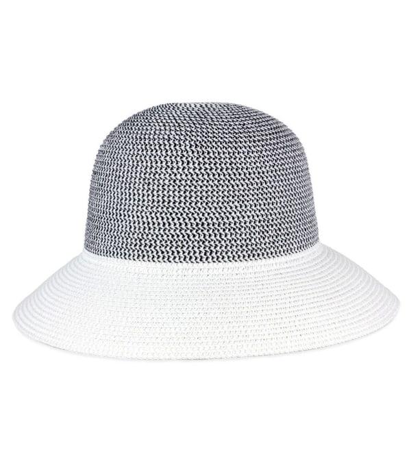 Contrast Brim Straw Bucket Hat - White - Front