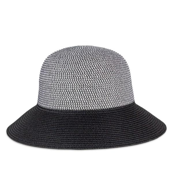 Contrast Brim Straw Bucket Hat - Black - Front