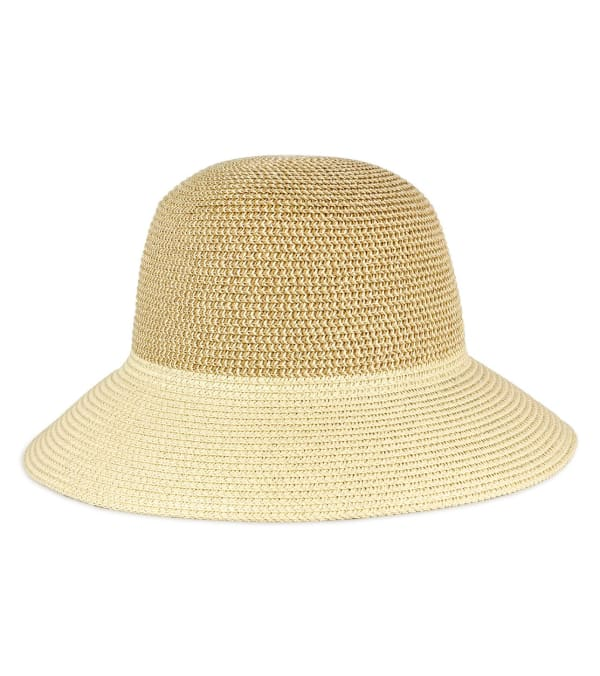 Contrast Brim Straw Bucket Hat -Natural - Front