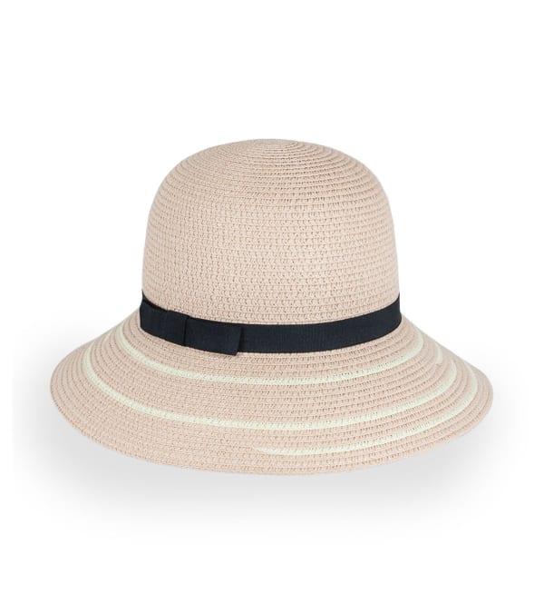 Line Pattern Straw Bucket Hat - Blush - Front
