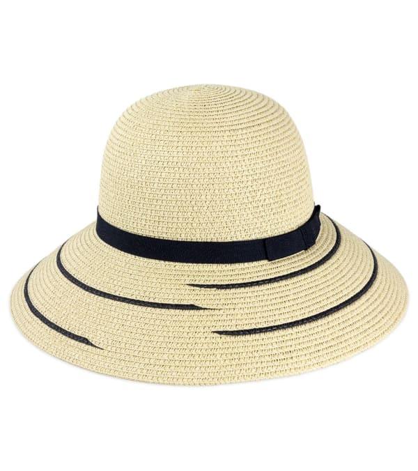 Line Pattern Straw Bucket Hat - Natural - Front