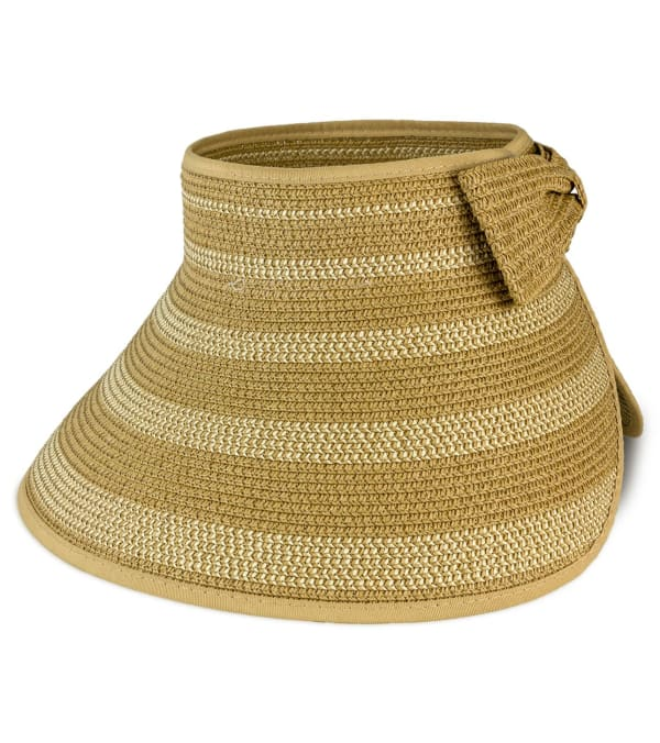 Rollup Two Tone Striped Straw Bow Visor - Toast / Natural - Front