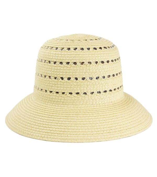 Straw Bucket Hat with Cutout Pattern - Natural - Front