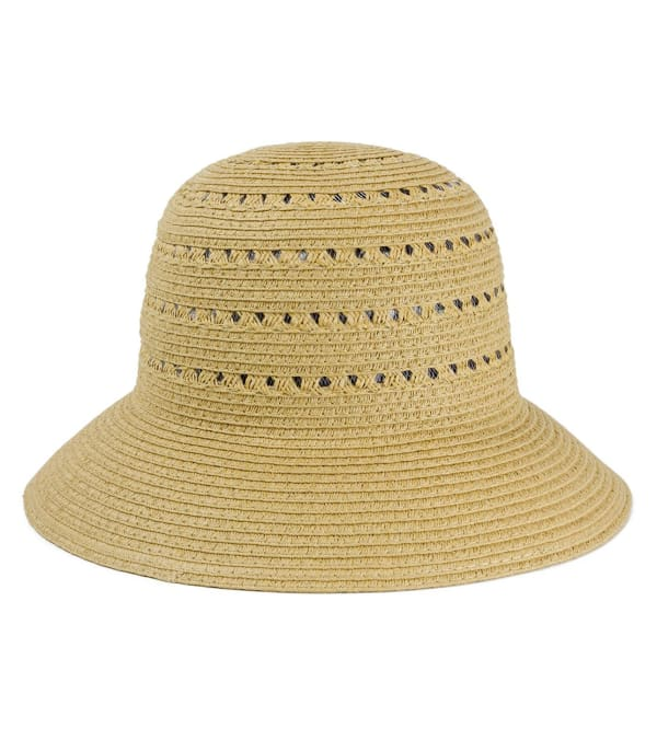 Straw Bucket Hat with Cutout Pattern - Toast - Front