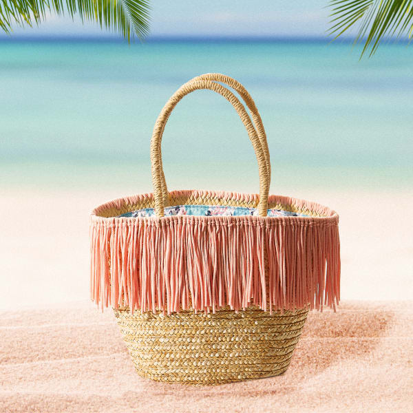 Maya Pink Fringe Straw Bag