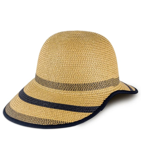 Striped Two Tone Open Back Straw Garden Hat - Toast - Front