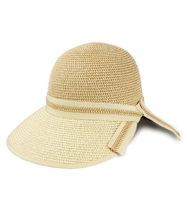 Two Tone Braided Straw Ribbon Garden Hat