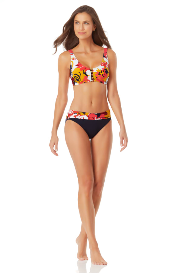 Anne Cole Center Front Beaded Bikini Swimsuit Top - Multi - Front