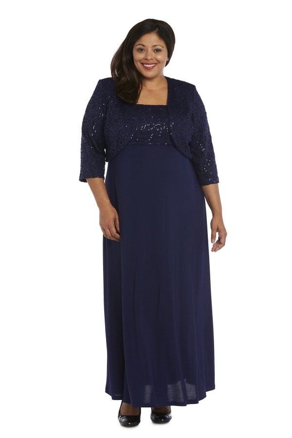 Column Dress and Bolero Jacket Set with Embellishments - Plus