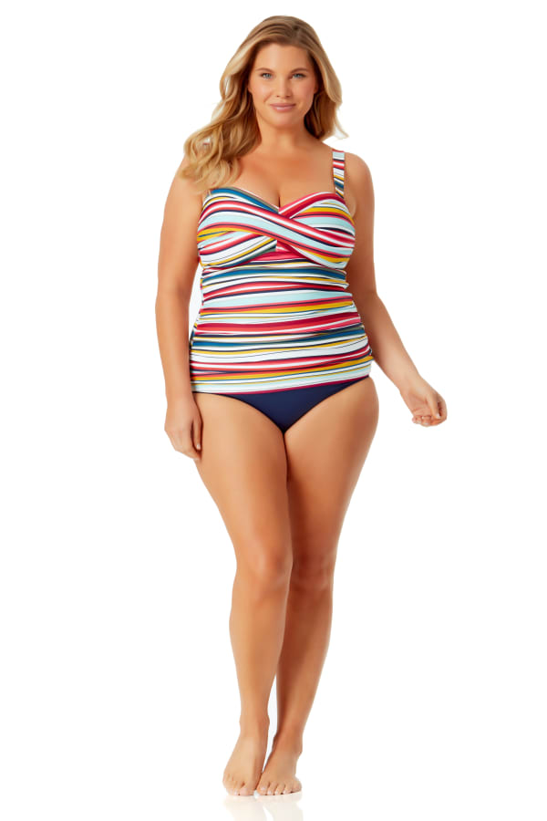 Anne Cole Twist Front Bandeaukini Top - Plus - Multi - Front