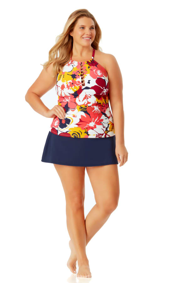 Anne Cole High Neck Beaded Tankini Top - Plus - Multi - Front