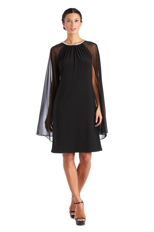 Short Chiffon Dress With Rhinestone Neckline