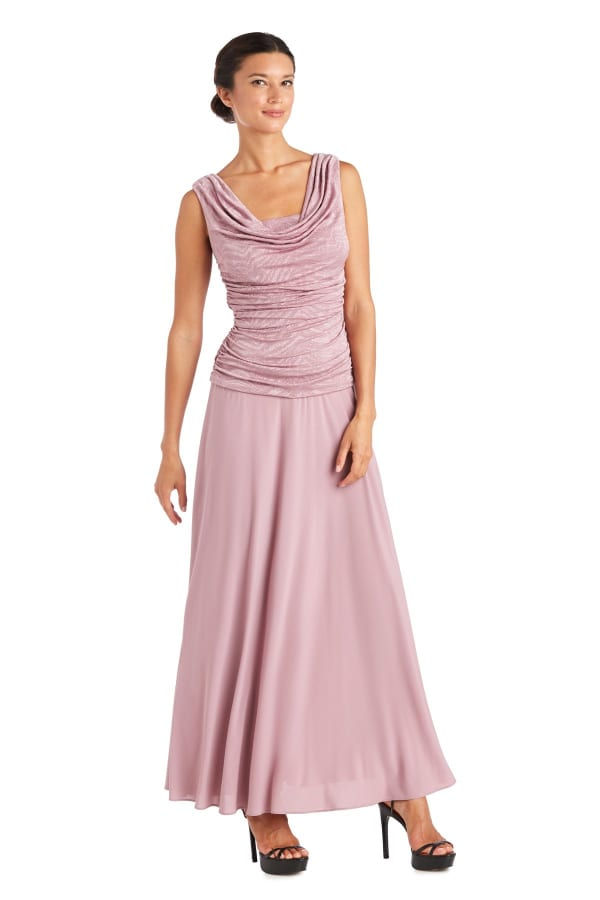 Maxi Dress With Cowl Neck, Ruching And Shimmer Fabric