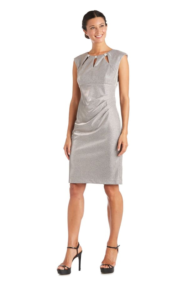 Rhinestone Accent Pleated Short Dress