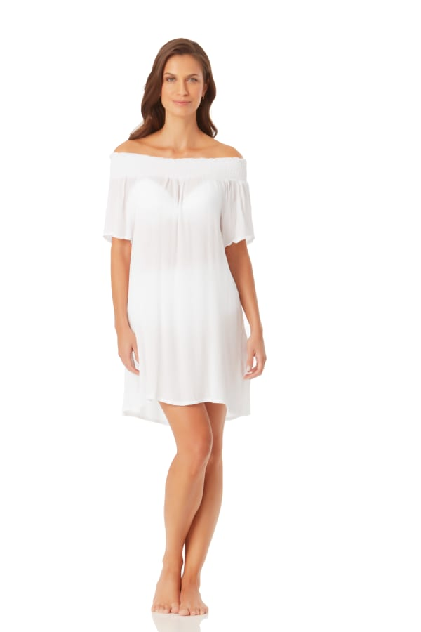Anne Cole Smocked Off Shoulder Mini Dress - White - Front
