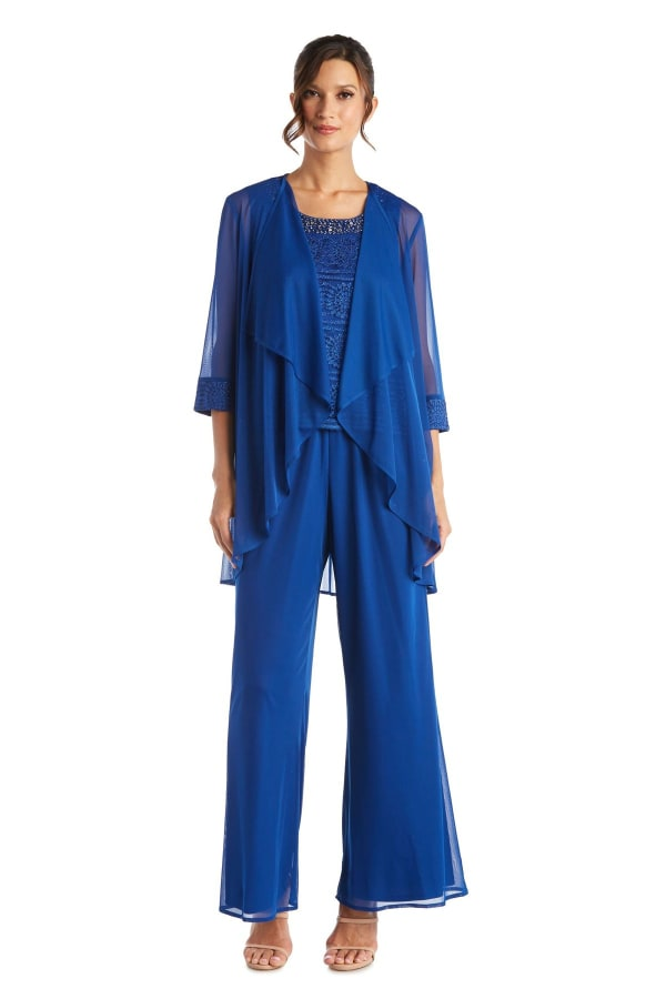 Three Piece Beaded Neck Lace Duster Pant Set