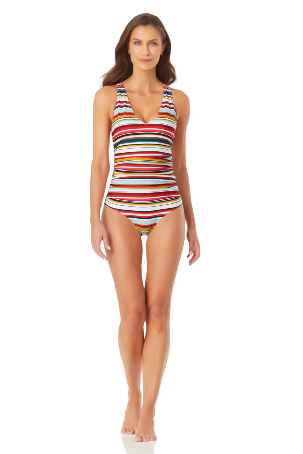 Anne Cole V Neck Cross Back One Piece Swimsuit