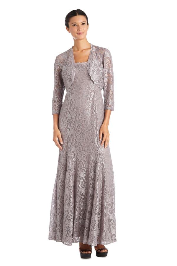 Two Piece Long Bolero Lace Jacket Dress
