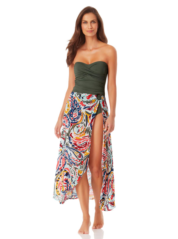 Anne Cole Ring Sarong Cover-Up Skirt - Multi - Front