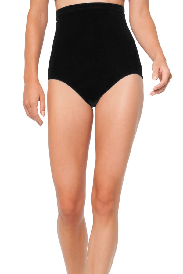Anne Cole Control High Waist Swimsuit Bottom - Black - Front