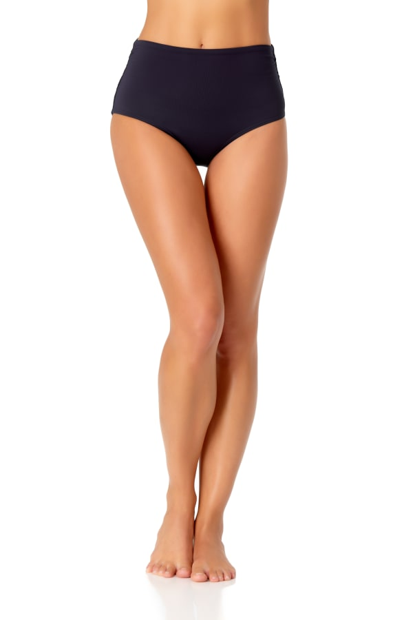 Anne Cole Convertible Shirred Bottom - Navy - Front