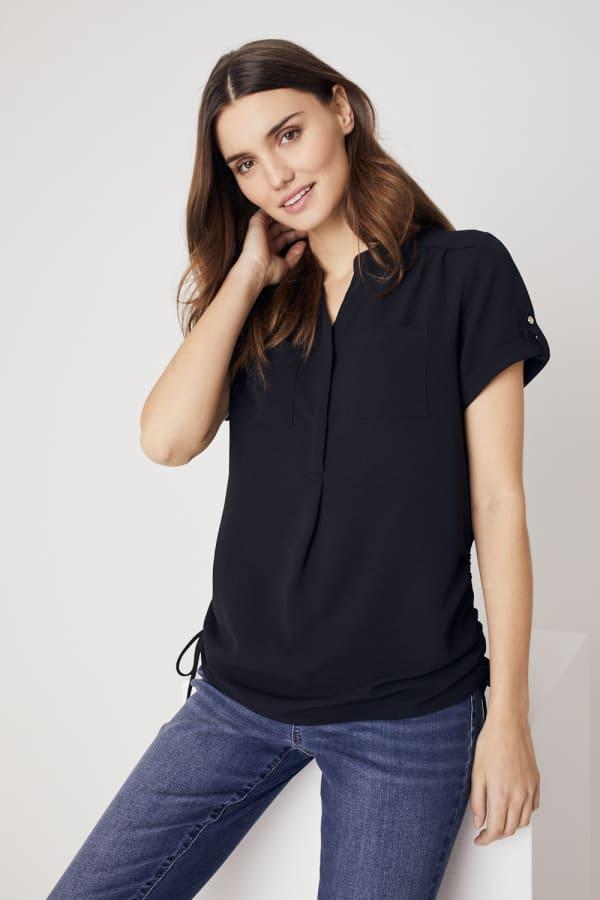 Roz & Ali  Short Sleeve Side Tie Popover Blouse - Misses