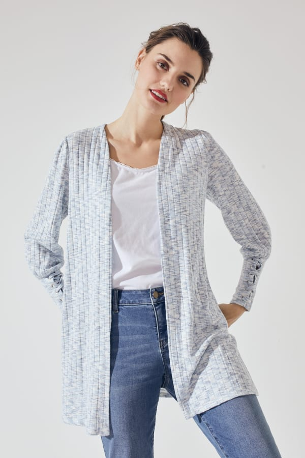 Westport Lace-Up Sleeve Cardigan Duster - Blue Multi - Front