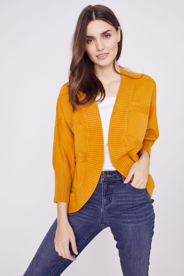 Westport Cocoon Cardigan Sweater - Golden Yellow - Front