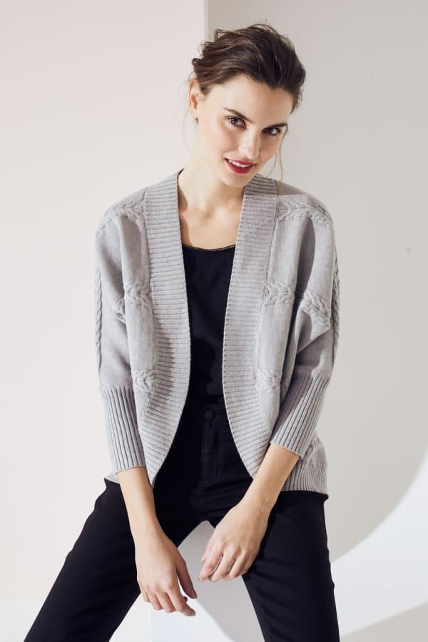 Westport Cocoon Cardigan Sweater - Heather Grey - Front