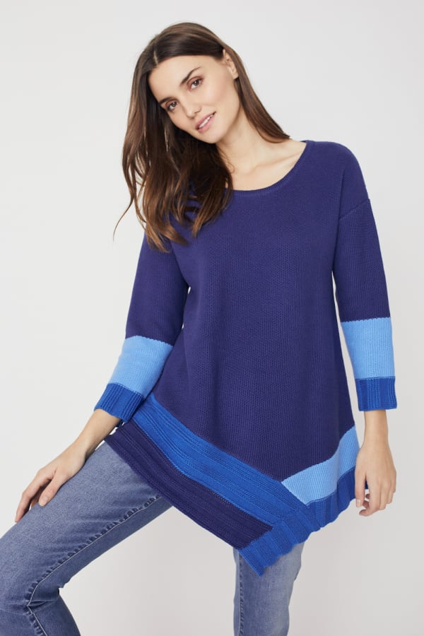 Westport Colorblock Asymmetrical Sweater -Blue Combo - Front