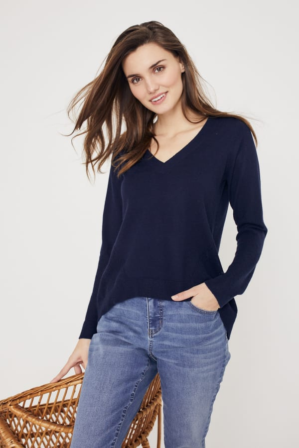 Roz & Ali Pointelle Hi/Lo Tunic Sweater - Navy - Front
