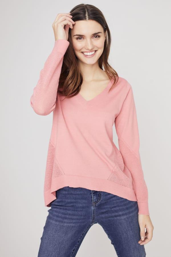 Roz & Ali Pointelle Hi/Lo Tunic Sweater
