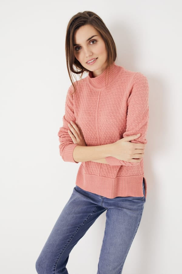 Roz & Ali Crochet Tunic Sweater - Misses - Coral - Front