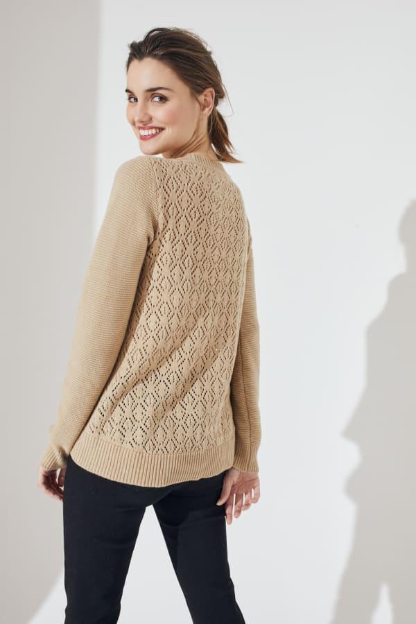 Westport Novelty Back Pullover Sweater - Misses - Neutral - Front