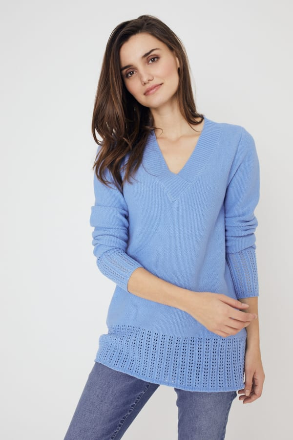 Westport V-Neck Sweater Tunic - Lake Shore - Front