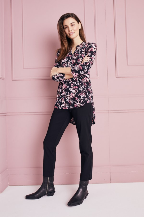 Roz & Ali Floral Jacquard Popover Tunic - Black Multi - Front