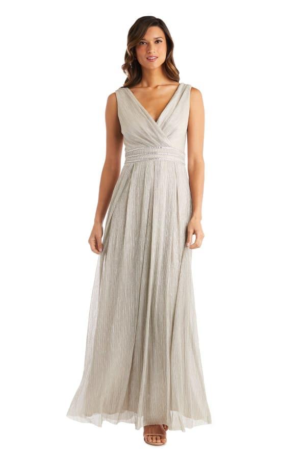 Long Crinkle Pleated Sleeveless Dress with Rhinestone Trim At Set In Waist