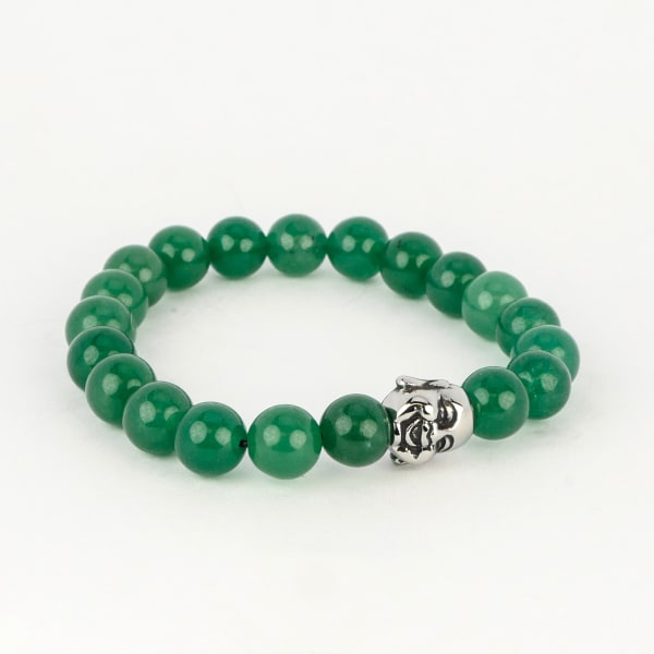"Dell Arte by Jean Claude 10 Mm Green Aventurine And Jade Stretchable Beads Bracelet With Stainless Steel ""Lucky Laughing Buddha "" Insert"