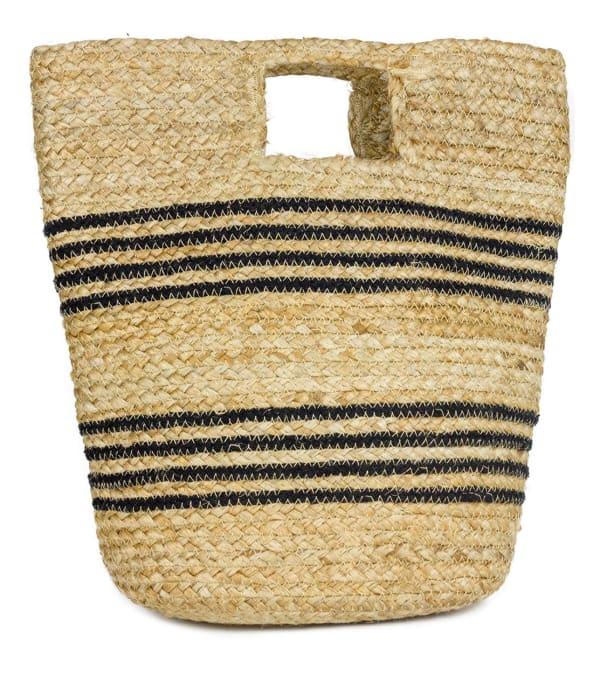 Straw Beach Bag Spring Jute Stripe Bucket