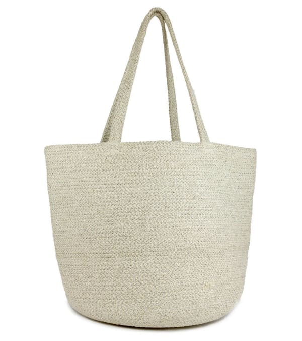 Woven Straw & Lurex Tote W/Double Handle