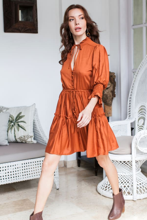 Simone Mini Dress - Rusty - Front