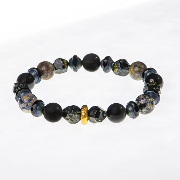 Dell Arte by Jean Claude 10 mm ocean agate ,picaso chech glass beads  and black obsidian  mix stretchable bracelet with 24 karat gold over 925 sterling silver insert
