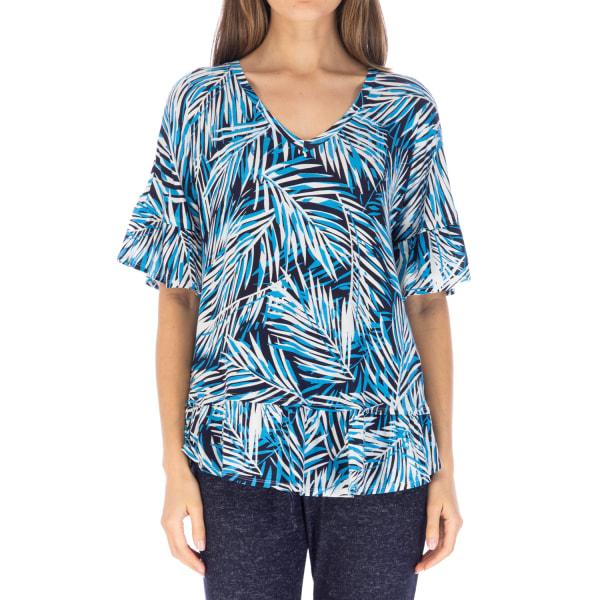 Printed V-neck W/ruffle Sleeve Top