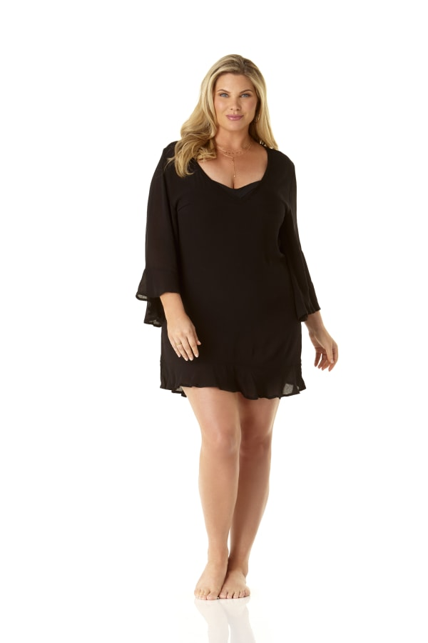 Anne Cole Flounce V Neck Tunic Cover Up - Plus