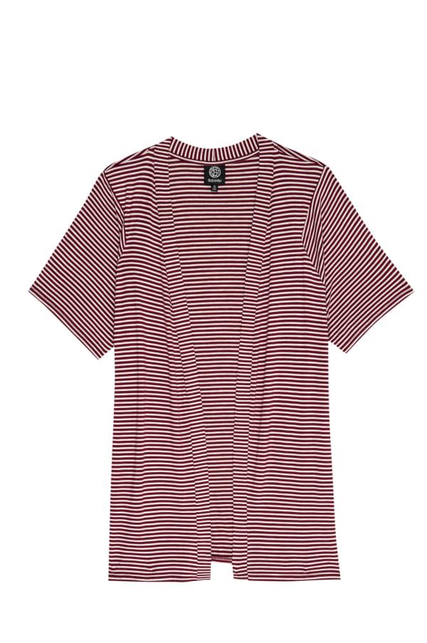 Rayon Spandex Stripe Short Sleeve Cardigan