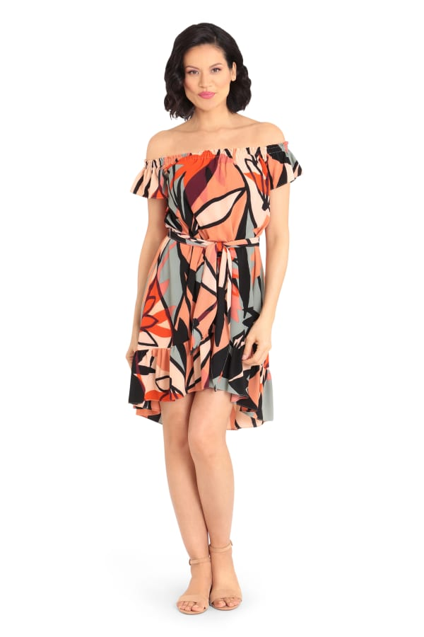 Olivia Geo Print Off Shoulder Dress